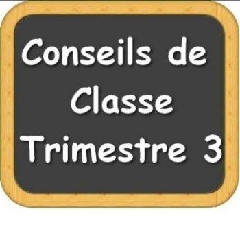 Conseils de classe du 3ème trimestre (dates , horaires, salles)